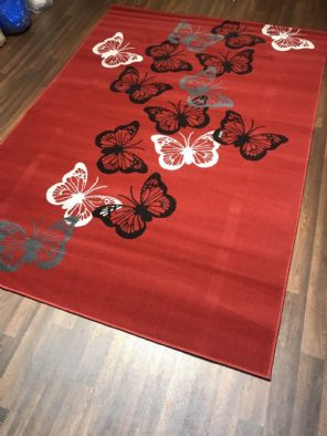Modern Approx 8x5ft 160x230cm Woven Backed Butterfly Designs Reds/Creams New